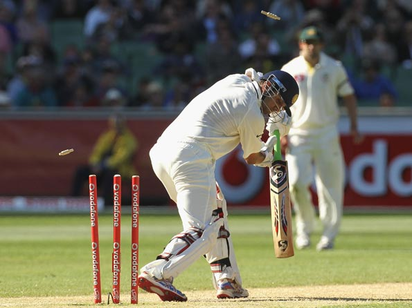 Rahul Dravid has been bowled five times in his last six Test innings. Here Dravid is bowled by Peter Siddle of Australia in the first Test at the Melbourne Cricket Ground © Getty Images