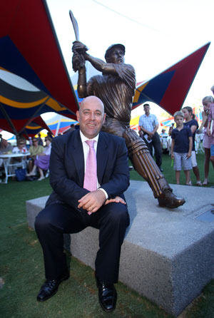 Darren Lehmann in front of his statue after it was unveiled at the Adelaide Oval before Day Two of the Fourth Test Match between Australia and India at Adelaide Oval on January 25, 2012 © Getty Images