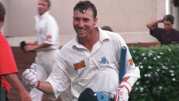 Michael Atherton is all smiles after helping England draw the 1995 Johannesburg Test against South Africa © Getty Images