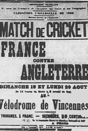 Poster for 1900 Olympic match between England and France Vincennes. Courtesy: Wikimedia Commons
