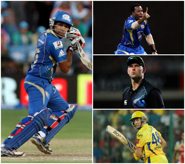 With newcomers, Corey Anderson (second from right) and Michael Hussey (third from right) coming in, Mumbai Indians will be hoping to defend the title this season © IANS and Getty Images