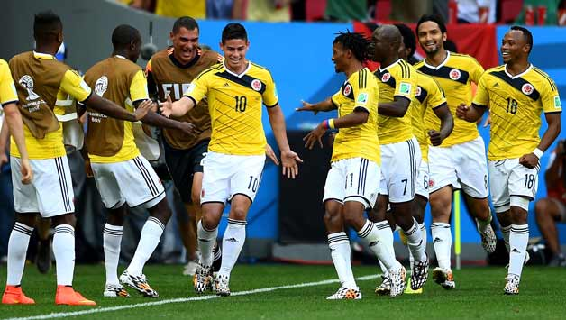 James Rodriguez (jersey No 10) scored the first goal for Columbia © Getty  Images c5b1536df