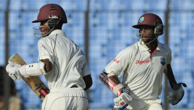 Brathwaite and Chanderpaul batted out the 56 overs which was possible on second day at St Vincent © AFP