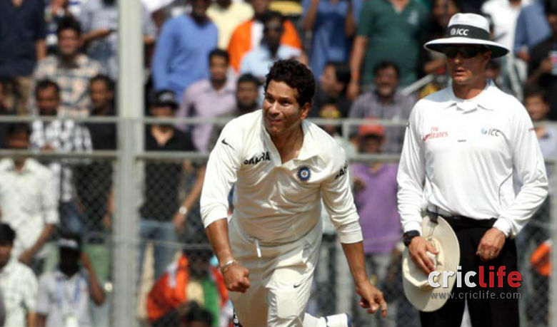 Sachin Tendulkar was given a chance to bowl as West Indies crumbled on Day Three.