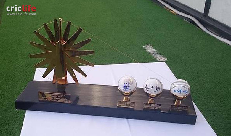"""The Indian """"Skippers"""" Mementos signed by the World Cup winning captains of India (Kapil Dev and MS Dhoni) and Narendra Modi"""
