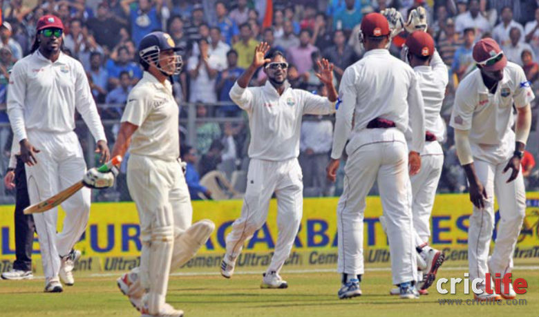 The stadium went silent. Even the West Indian team were muted in their celebrations as Tendulkar walks back scoring 72 in his final innings.