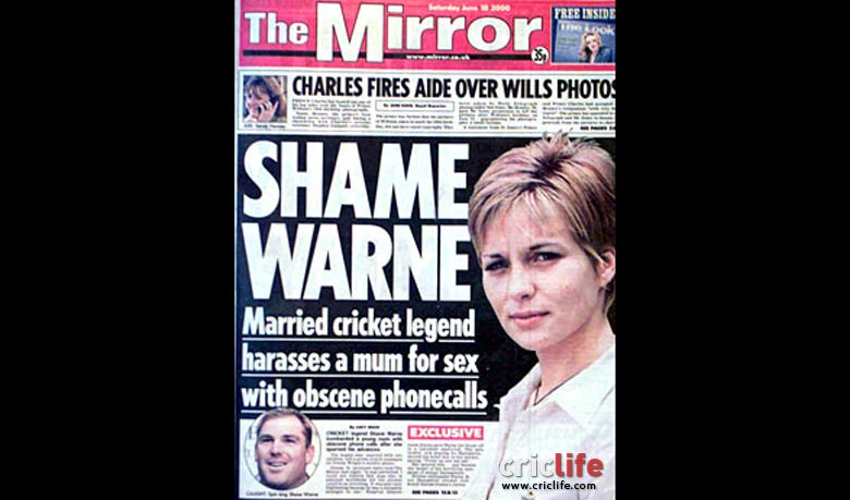 The front page story in London   s    The Mirror    detailing Shane Warne   s obscene phone calls to Donna Wright.
