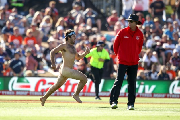 An athletic streaker disrupted the match between Scotland and England © Getty Images