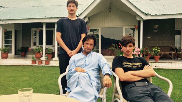 Untitled 4 - Imran Khan playing cricket with sons Suleiman and Qasim
