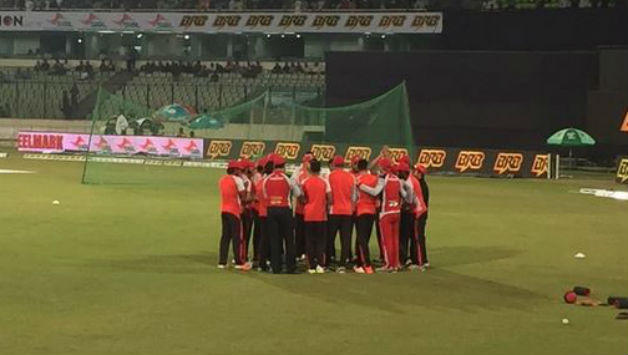 Chittagong Vikings team discussing their strategy before the match. Photo courtesy: Chittagong Vikings Twitter handle
