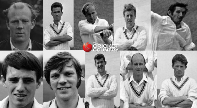 The ten catchers. Clockwise, from top left: Tony Lock (c), Clive Inman, Mick Norman, Peter Marner, Terry Spencer, Brian Booth, Maurice Hallam, John Cotton, Terry Dudleston, Roger Tolchard (wk) © Getty Images