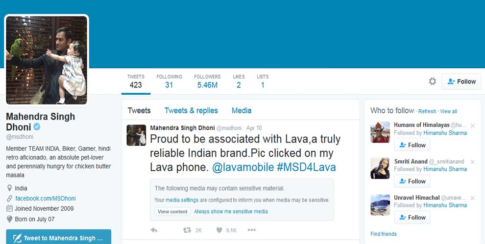 Most followed Indian Cricketers on Twitter