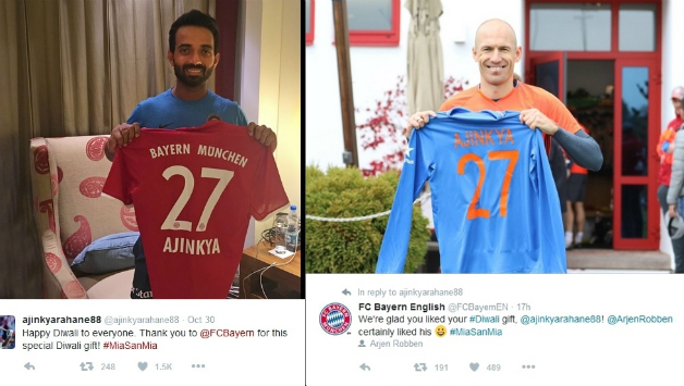 innovative design 8f3a1 053c7 Ajinkya Rahane, Arjen Robben exchange jerseys on Diwali ...