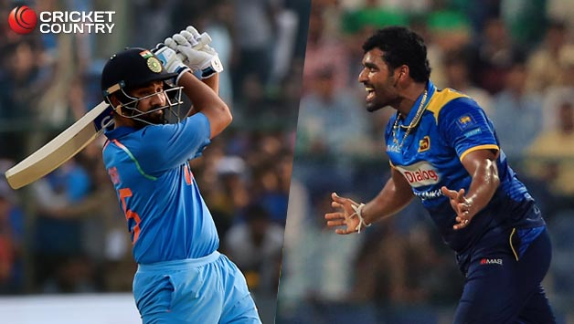 Rohit Sharma (L) and Thisara Perera © AFP