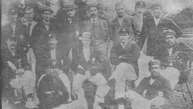 The 1900 West Indians who toured England (courtesy: Wikimedia Commons) Standing, from left: Malcolm Kerr, William Mignon, Gilbert Livingston, Percy Cox, WC Nock (manager), Tommy Burton, Stanley Sproston, Charles Ollivierre Sitting, from left: William Bowring, Learmond, Aucher Warner, Percy Goodman, Lebrun Constantine, Fitz Hinds, 'Float' Woods