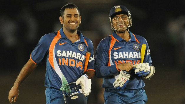 MS Dhoni (Left) and Virender Sehwag had together played many memorable innings for India © AFP