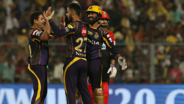 Nitish Rana celebrates after scalping wicket of AB de Villiers © BCCI