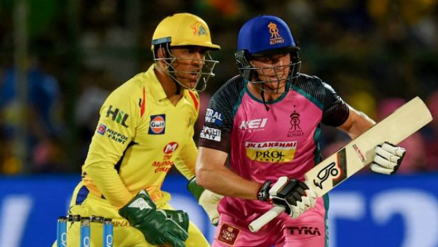 MS Dhoni and Jos Buttler © AFP