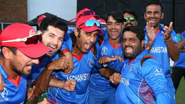 Afghanistan celebrate beating West Indies in Harare.