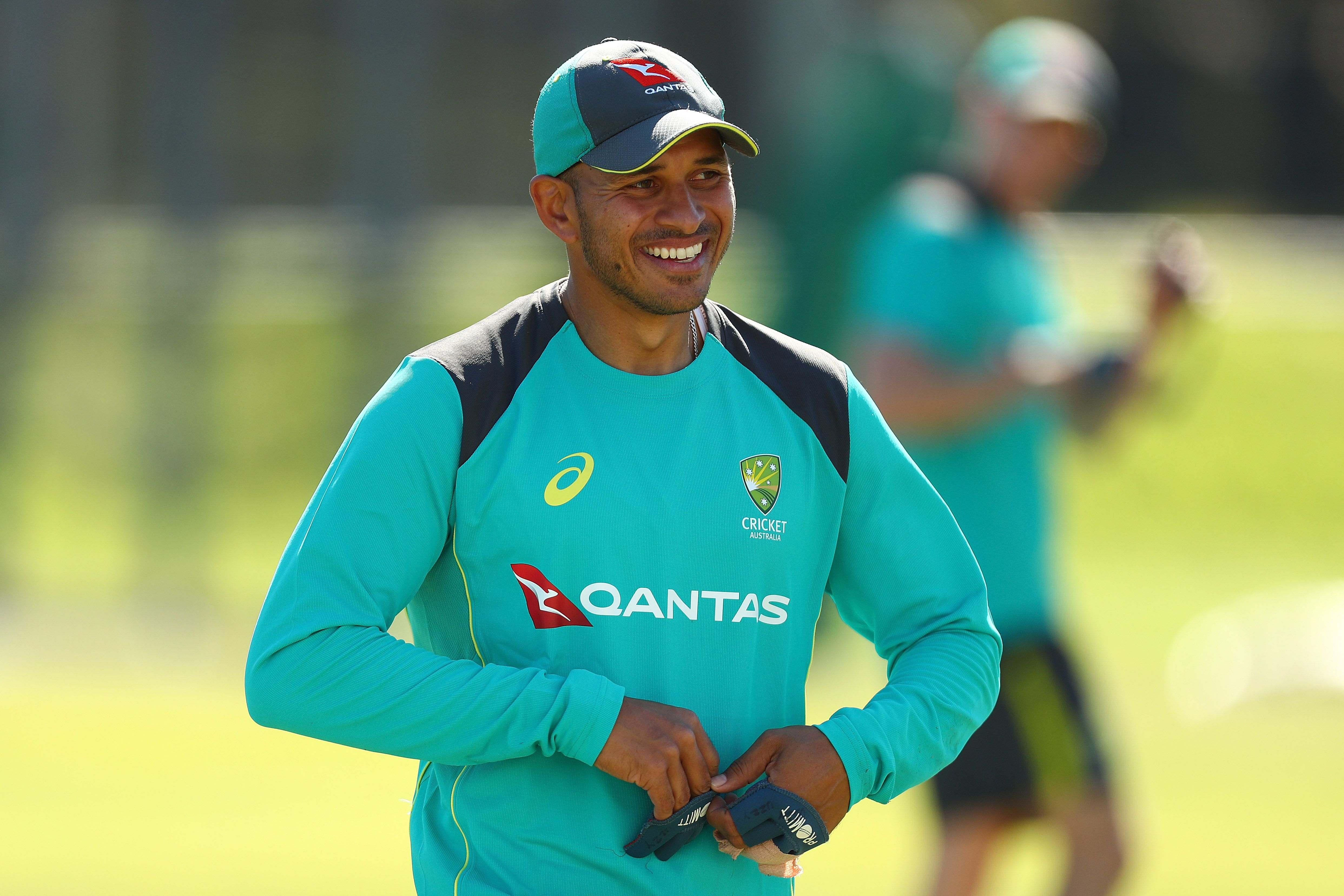 Usman Khawaja at a training session with Australia A © Getty Images