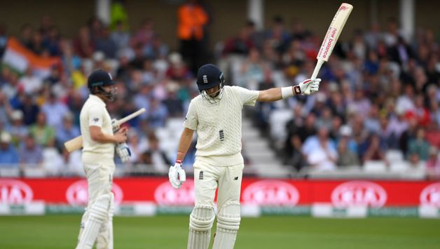 Joe Root reacts after being dismissed