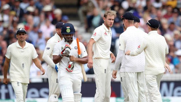 Rishabh Pant chased after a wide one from Stuart Broad and drags one back to the stumps.