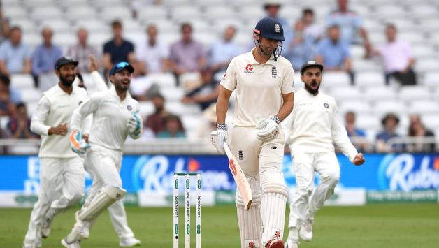 Six deliveries later, Ishant got a climbing delivery to straighten for Cook to poke a regulation catch to KL Rahul  at second slip.