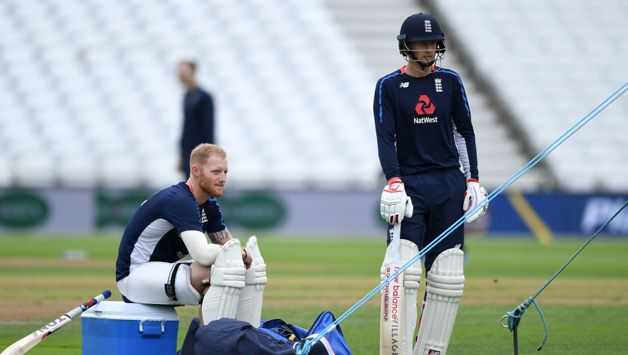 England captain Joe Root speaks with Ben Stokes during a nets session at Trent Bridge on August 17, 2018 in Nottingham, England.