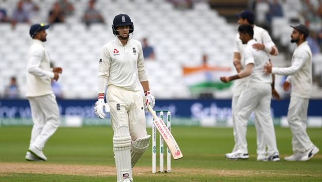 Root was given a torrid examination, beaten by Jasprit Bumrah's sharp inwards movement thrice in one over. Bumrah then had his man when Root pushed hard and off the back foot and nicked to Rahul at second slip, who held a very sharp catch for his fifth of the Test.