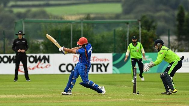 After being put in to bat, Ireland were blown away by Afghanistan opener Hazratullah Zazai's 33-ball 74-run knock that helped the visitors post an good total of 160 for seven, in a rain- curtailed 18-over-a-side match.