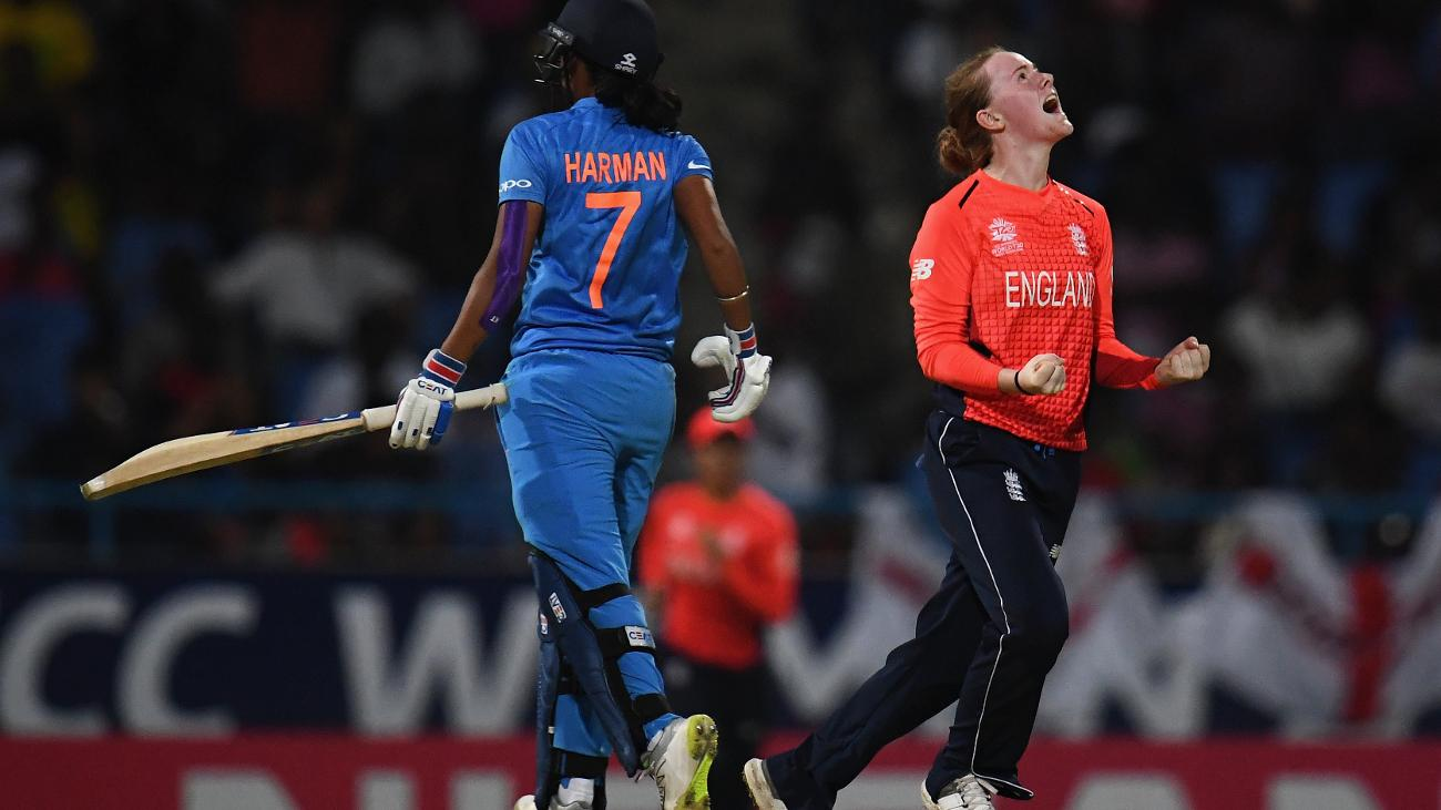 Kirstie Gordon got two big wickets, including that of Harmanpreet Kaur
