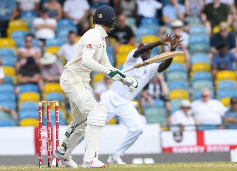 Keaton Jennings edges to slip in England's second innings.