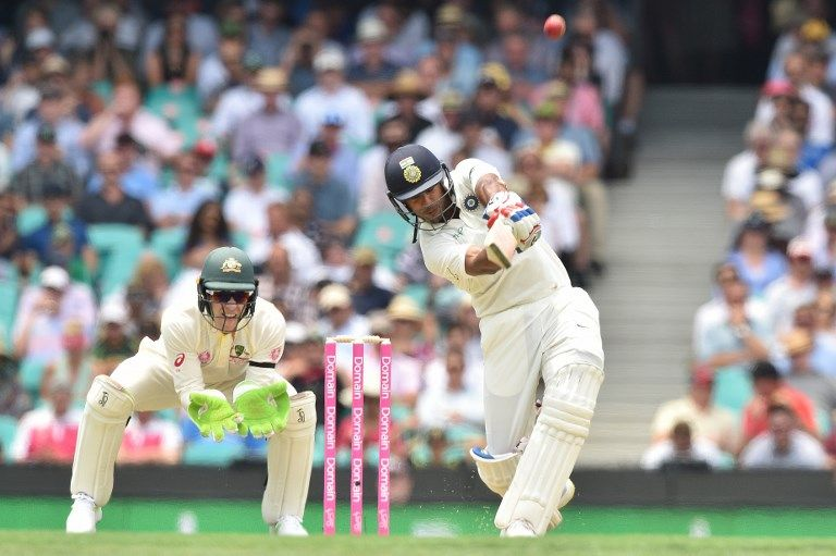 Mayank Agarwal hit Nathan Lyon for two sixes before falling in pursuit of a third.