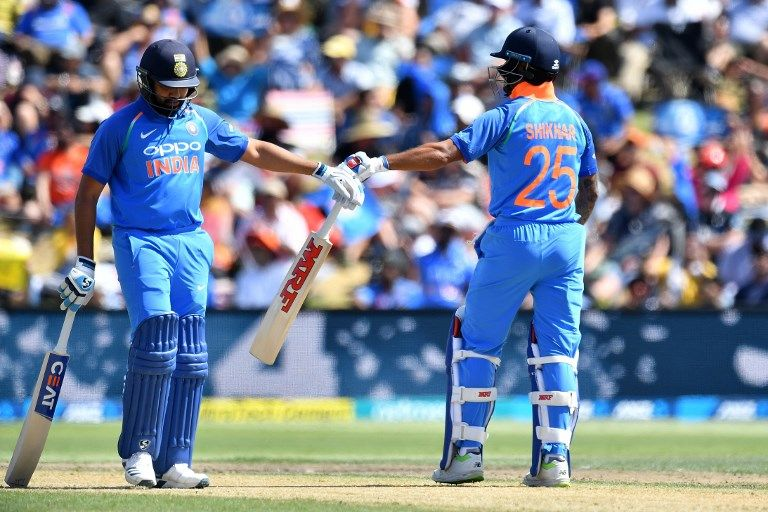 Rohit Sharma and Shikhar Dhawan put on 154 for the opening wicket.