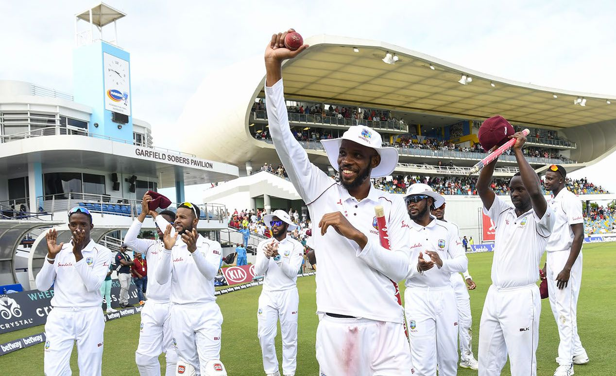 Roston Chase took eight wickets as England slumped to defeat