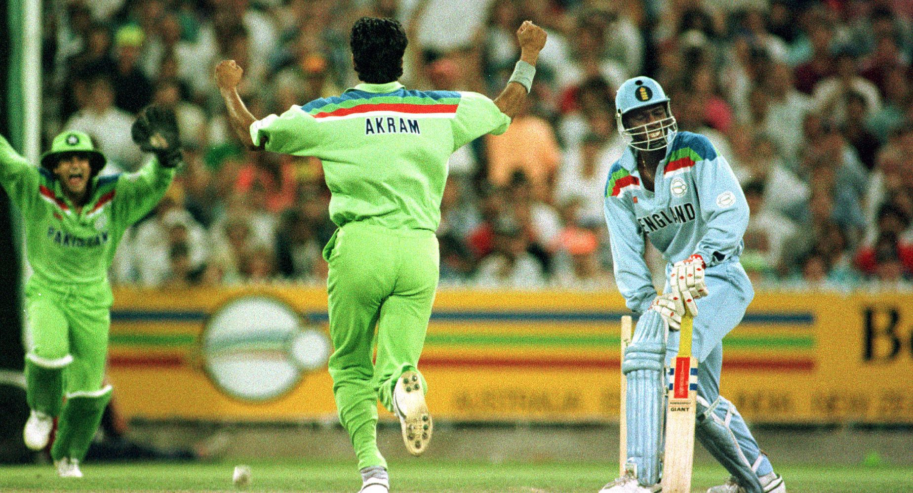 Wasim Akram bowls Chris Lewis with a ripper in the 1992 World Cup final.