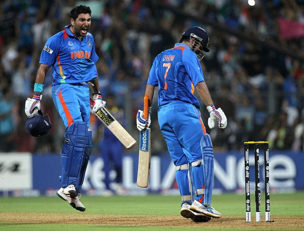 Yuvraj Singh erupts after MS Dhoni hits the winning six in the World Cup final.