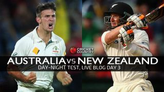 AUS 188/6 (Target: 187)   Live Cricket Score Australia vs New Zealand 2015, 3rd Test at Adelaide, Day 3: AUS win by 3 wickets