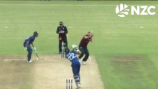 Video: Ball crosses boundary ropes for a six after hitting bowler's head n New Zealand's domestic 50-over match