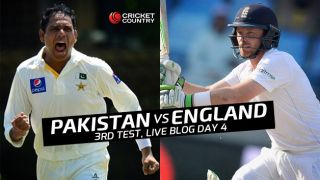ENG 46/2, target 284 │ Live Cricket Score Pakistan vs England 2015, 3rd Test at Sharjah, Day 4: At stumps, Cook, Root remain unbeaten